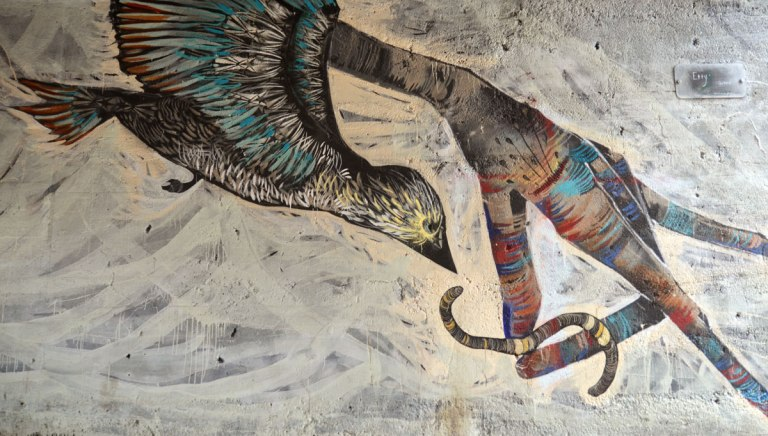 Detail of a large mural. This picture shows a bird in flight swooping down to catch a worm that is being held by the fingers of a hand.