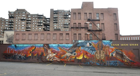 Long mural on the side of Cooks Iron Store, many falcons in flight over a city skyline at sunset. Taller buildings are in the background, empty parking lot is in the foreground.