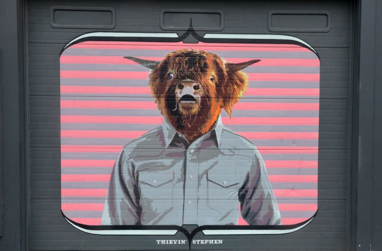 Thievin Stephen is the title, Wall Therapy mural in Rochester, on the side of a building, a man's torso in a light grey shirt, but with a cow head, pink background