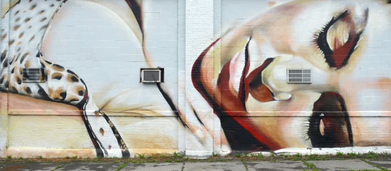 mural of a woman, very realistic looking, lying on her side with her eyes closed. It covers two garage doors.