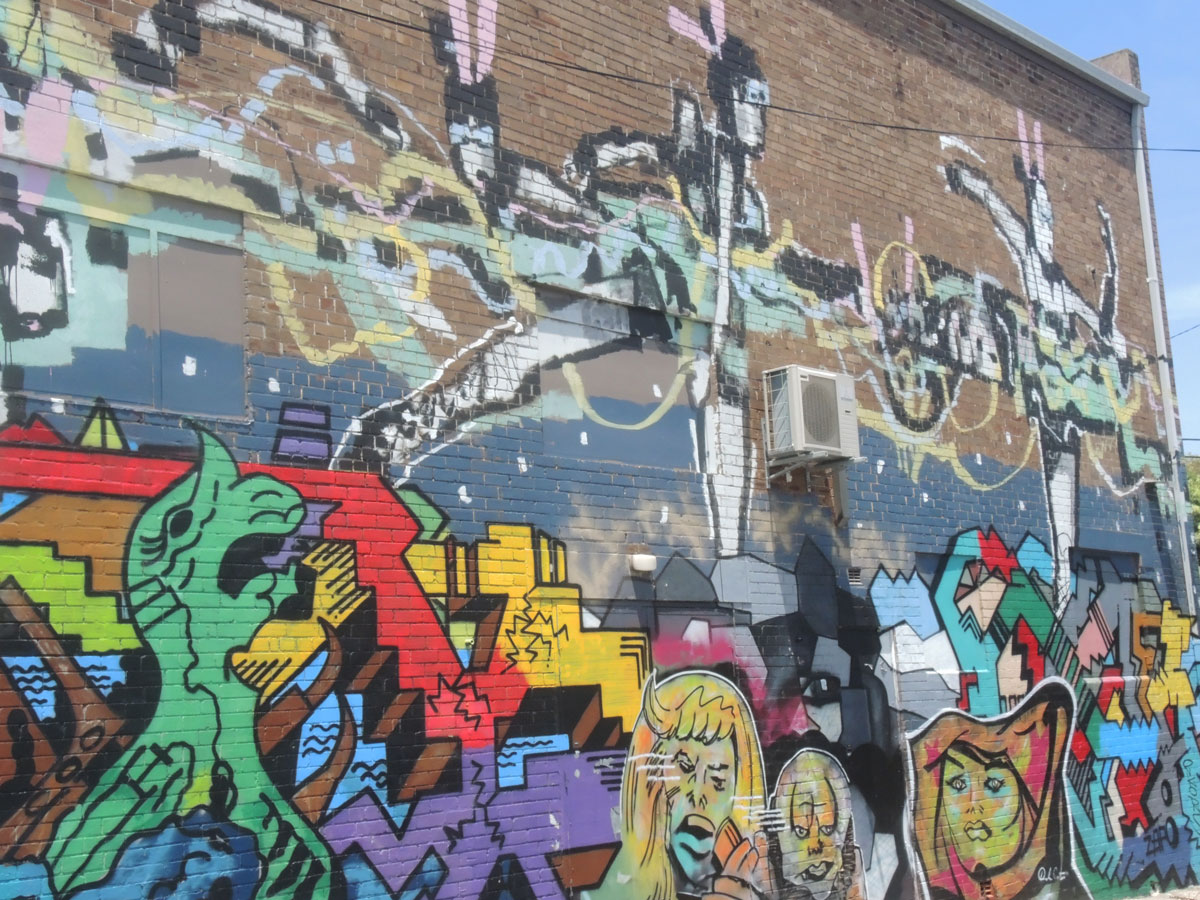 large two storey mural in a lane in Newtown Sydney
