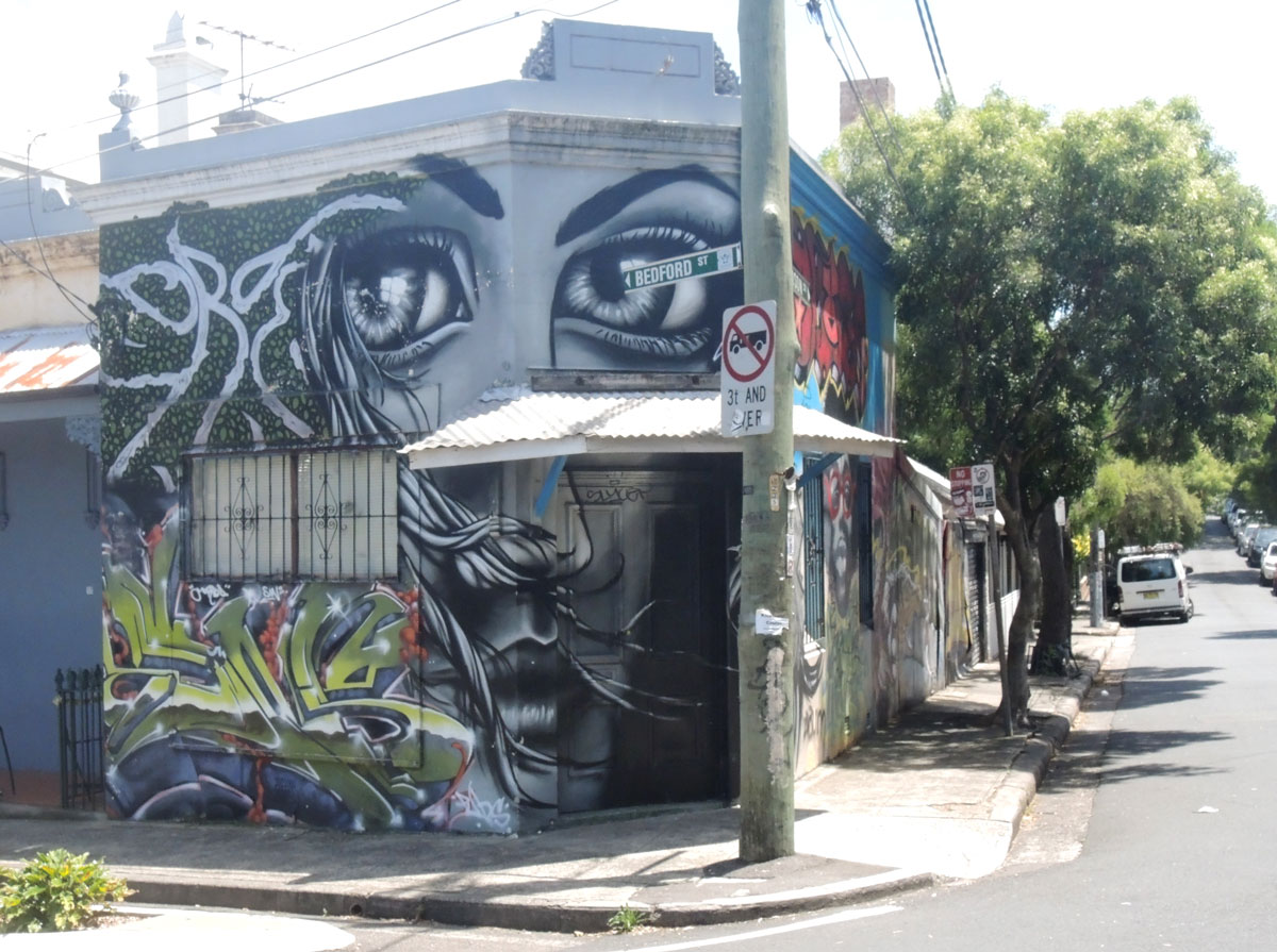 A house on a corner that has been covered with a mural of a woman's face in black, white and grey. Her nose and mouth are on the first storey, her eyes are on the upper storey