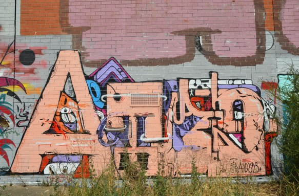 tag-like street art, letters with a capital A in the beginning, the letters are in a peach or salmon colour.
