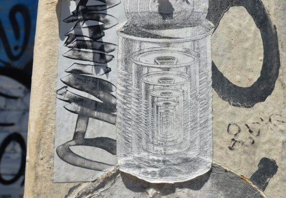 small black drawing on white paper paste up of many cans inside each other, each can slightly smaller than the one before it.