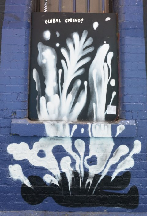 global spring - the title of a frame in a series titled radical futures, a street art collaboration in Melbourne.