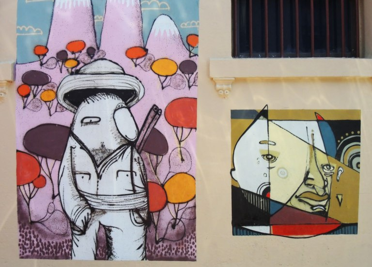 pictures painted on a the wall on Goddard street in Newtown, Sydney, Australia