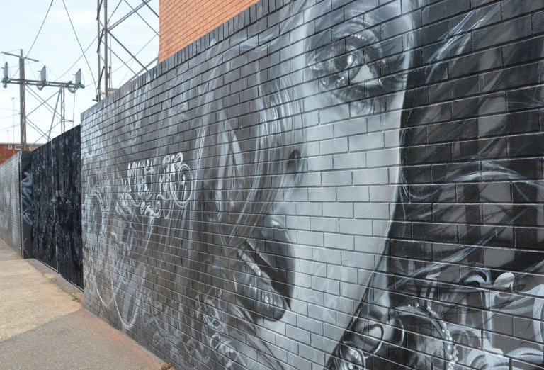 monochromatic realistic portrait of a woman part of a larger mural painted on a wall surrounding a power substation in Melbourne.  Long hair is covering one side of the woman's face