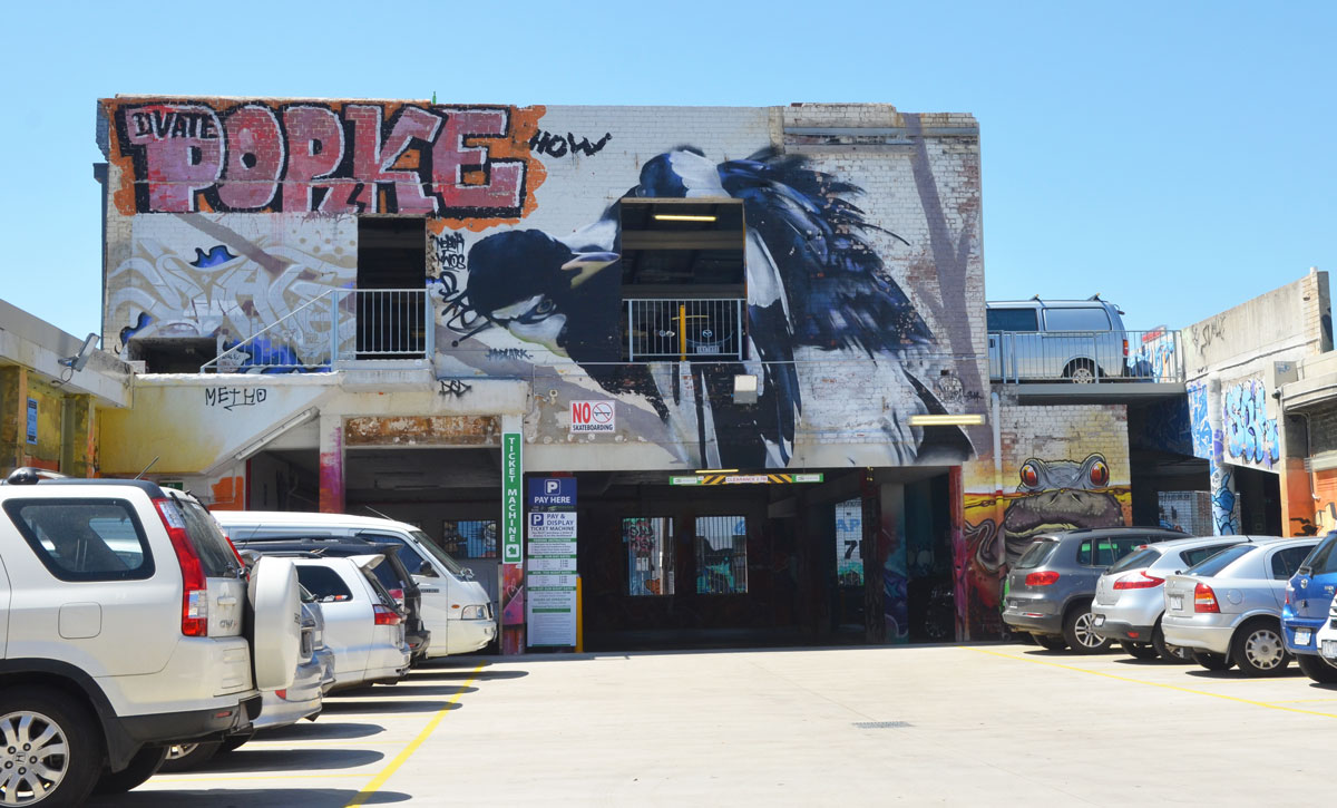 a car park with cars parked on either side, a wall (two storeys high) with a street art painting of a bird on it.