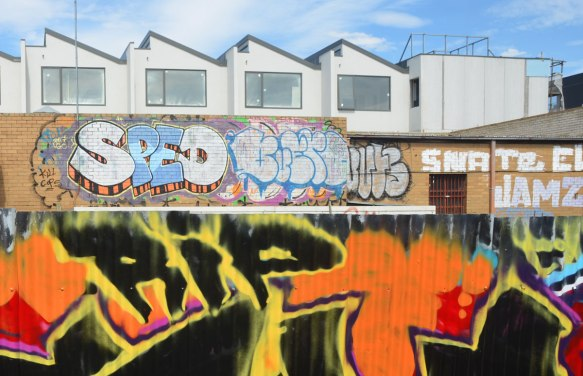 in the foreground is part of a corrugated metal fence with R I P in black that is part of a black, yellow, orange and red street art piece. In the background is a fence by some new houses. On the fence are a couple of tags, one of them is for SPED