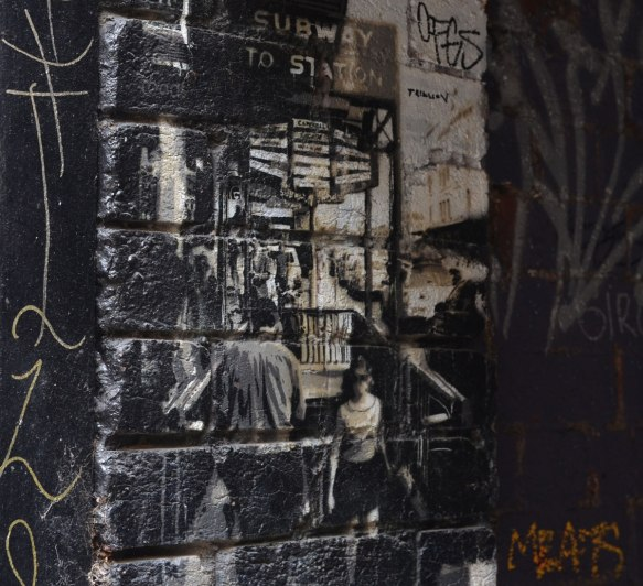 black and white graffiti of a man and a woman walking towards a building with a sign over it that says subway to station