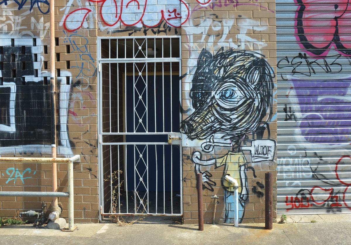 street art of wolf head on person beside a real door with a white metal grille