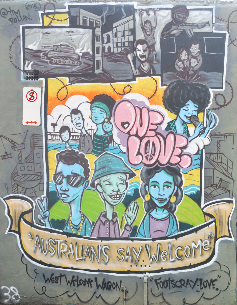 mural on a wall in Footscray Melbourne by Tim Rollin with the theme of One Love, Australians say welcome, featuring pictures of various kinds of people