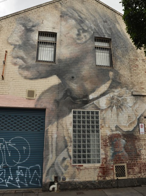 very large two storey mural of a girl on the side of a building. Her head and shoulders profile