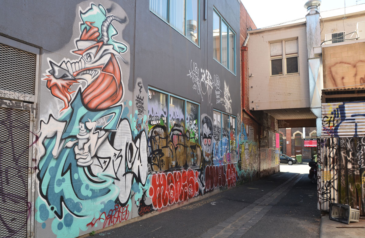 view of a lane with graffiti and street art on both sides