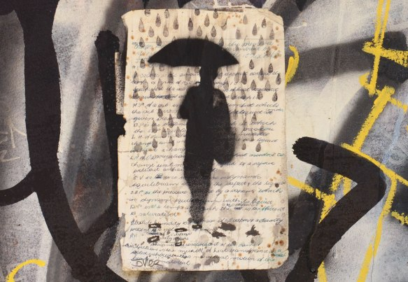 paste up of a black silhouette of a man holding an umbrella and walking through large rain drops.
