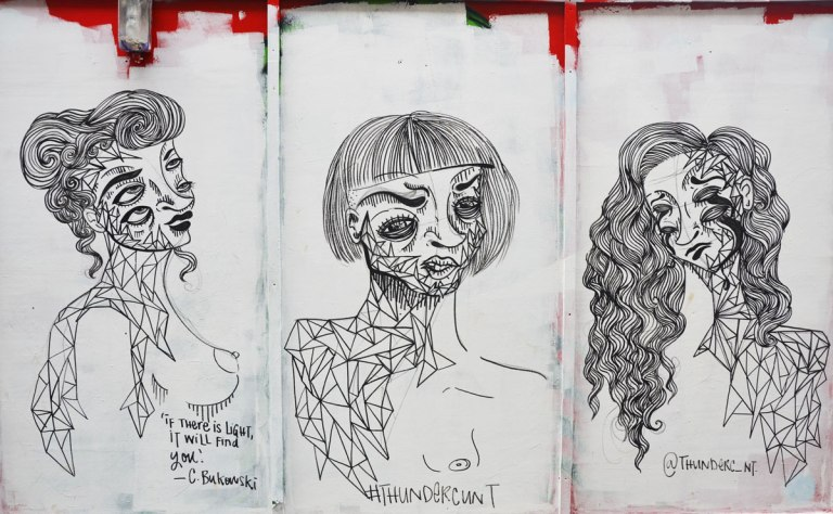 three black line drawings of the head and shoulders of a woman with multiple eyes, all by thundercunt with #thunderc_nt written on them. Also a quote under one of the women