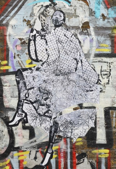 large black and white paste up of a woman in high heels and long flouncy dress