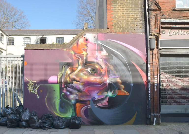 a mural of a woman's face in profile on a wall, many colours, long hair, maroon background,