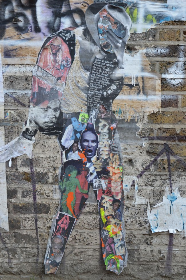 a street art peice in the shape of a person walking, made up of a collage of pictures of people's heads