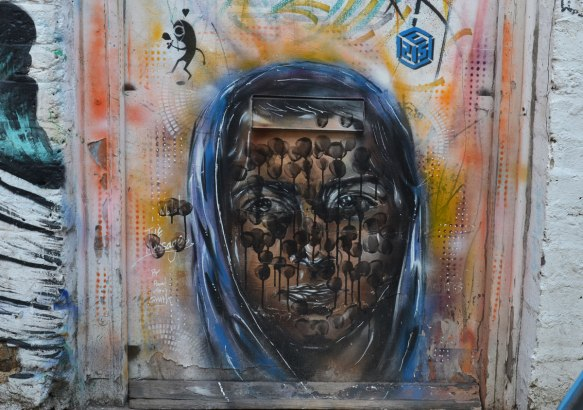 portrait of Malala, by Paul Don Smith, street art, on a door