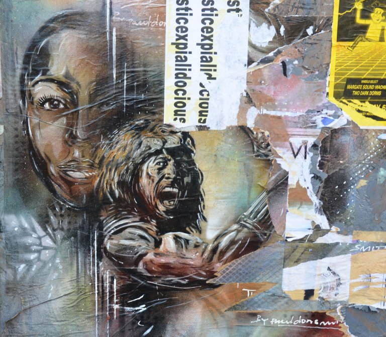A couple, man and woman, portraits by Paul Don Smith, street art