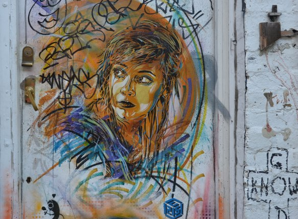portrait of a woman, street art by Paul Don Smith in London, on a door
