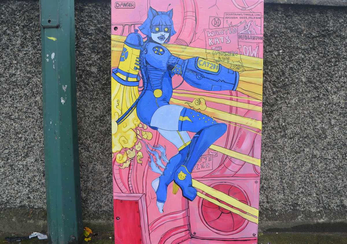 on a metal box beside the road, a blue kat superhero woman with an rocket tank on her back, brih=ght pink background, by Amanda Deer