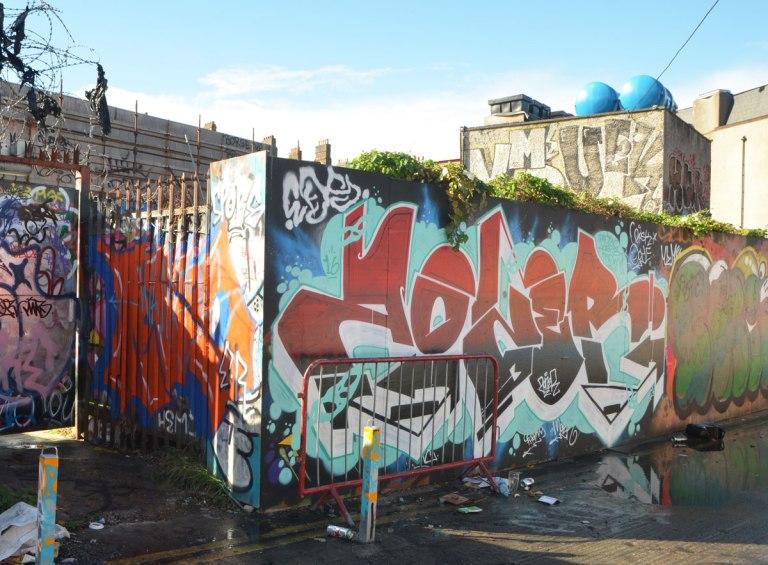 text street art and graffiti on walls