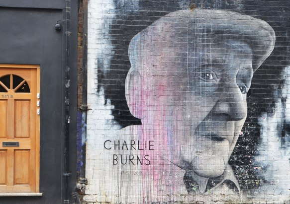 large mural portrait of Charlie Burns 1914-2012
