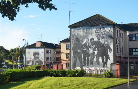 Free Derry mural in Bogside, Derry Northern Ireland, in shades of grey, commemorating Bloody Sunday in 1972