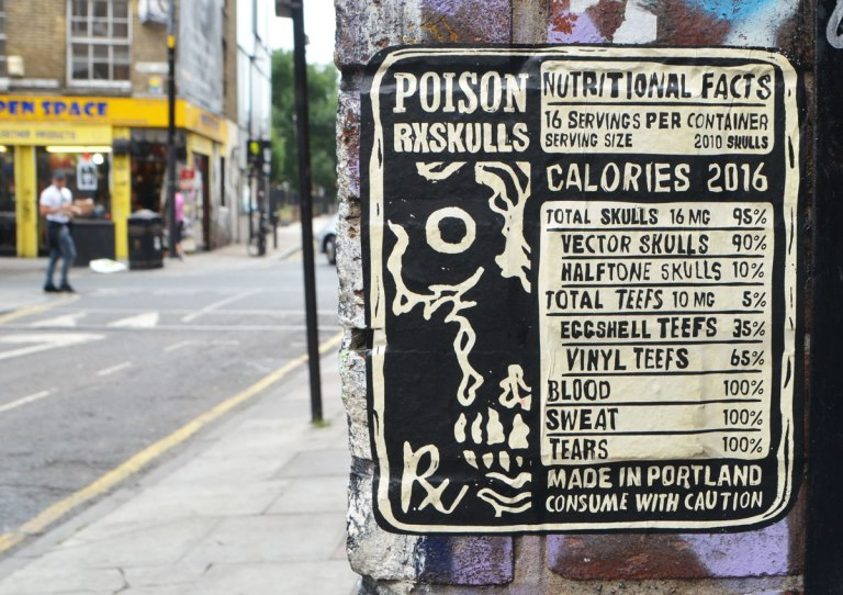 poster by arrex, or rxskulls, from Portland, Poison, and the nutritional content of it, e.g. calories,