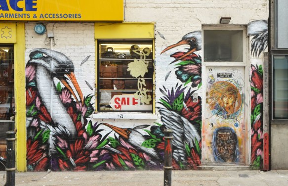 a mural of long necked white birds in foilage, around a window and beside a door. On the door are two other pieces of street art, a portrait of two different people, a woman on the top and a man below.