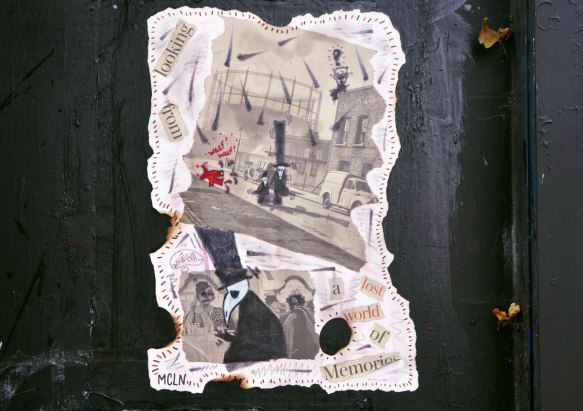 paper paste up by mcln of memory, characters in black top hats and black coats walking streets of the past