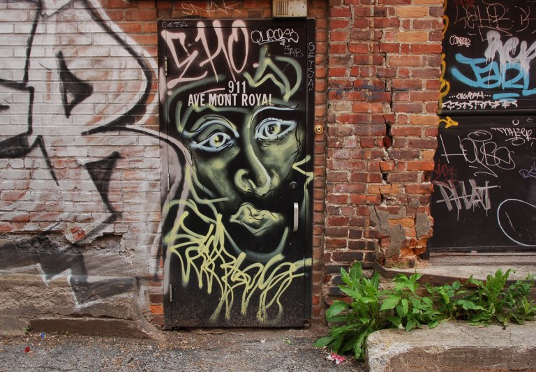 a black door in an alley, 911 Ave Mont Royal that has graffiti on it, as well as a painting of a man's face