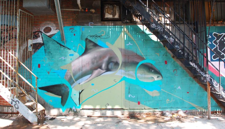 street art, graffiti, animals painted on a wall - a dolphin is swimming under exterior metal staircases