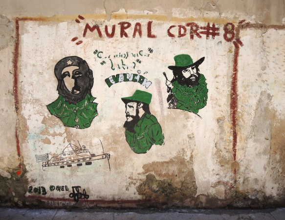 mural cdr number, portraits of three men wearing green, Che Guevera, Castro and