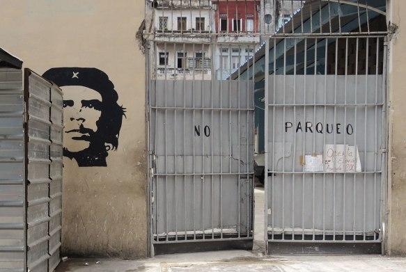 a black stencil of Che Guevera's head