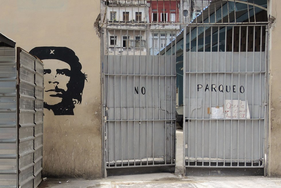 a black stencil of Che Guevera's head
