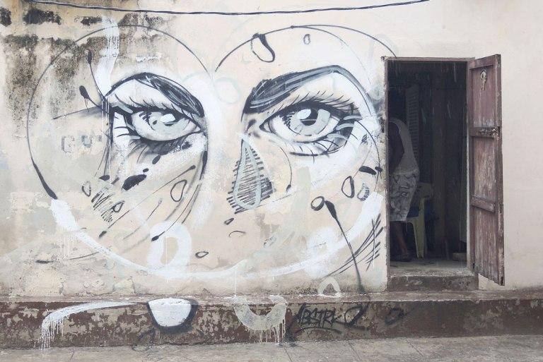 street art, large eyes staring straight ahead