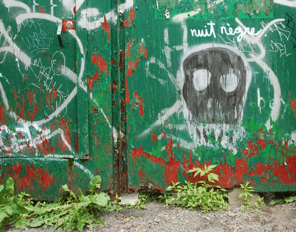 a roughly drawn black skull on a green fence, with white holes for the eyes and white outline