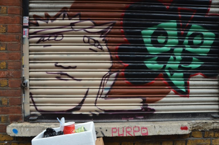 two street art faces painted on a metal covering over a shop window. One is man's face in beige with brown hair and the other is a stylized face in green with black hair