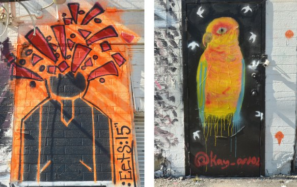 two street art pictures, A yellowish orange parrot with green wings and on the left a black man with orange exploding head