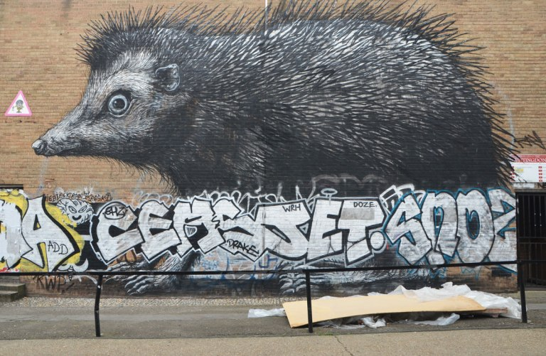 a very large hedgehog in black, white, and grey, painted on the side of a building, by street artist roa. Some tags and throwup graffiti across the bottom.