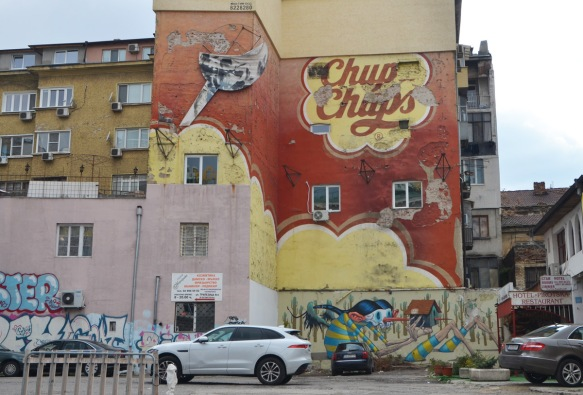 Chupa chups logo painted large on a wall in Sofia, exterior