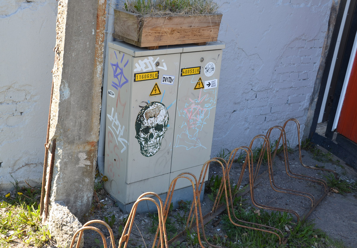 a large sticker with a realistic picture of a skull on it, on a small electrical box beside a building