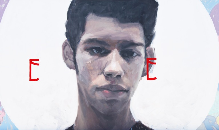 center of mural, a young man's head and face, a portrait of Israel Hernandez, aka Reefa, by Axel Void