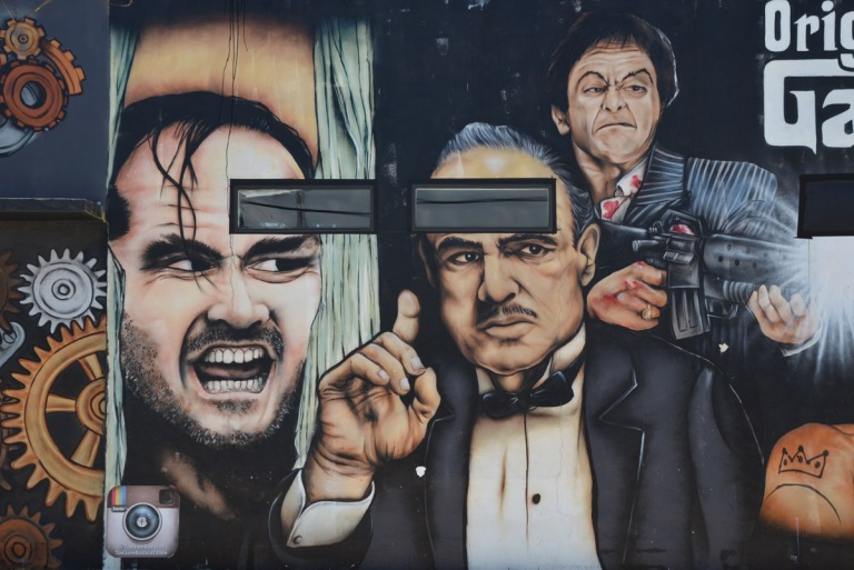 Marlon Brando as the Godfather, in a mural with other actors