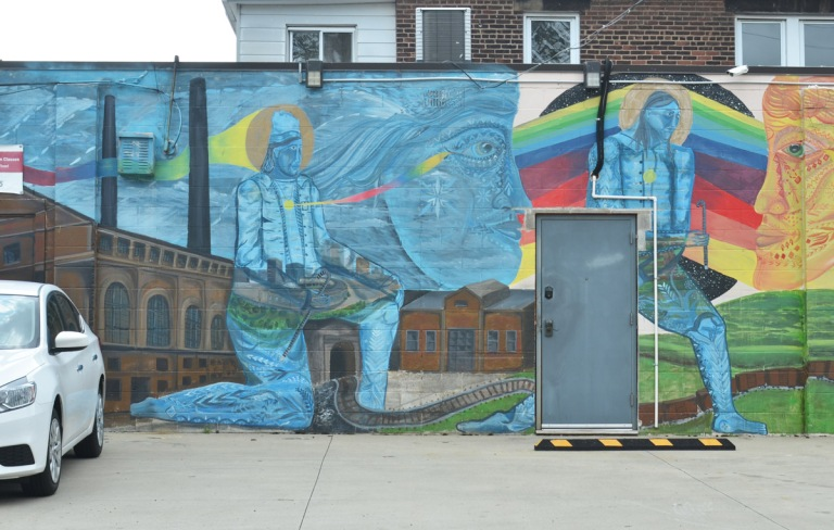 part of a mural by Nick Mann in Cleveland