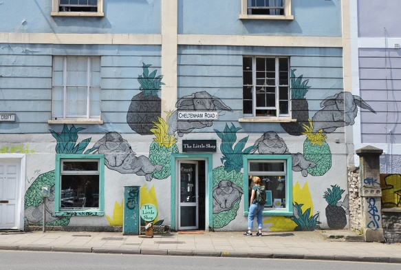 bunny rabbits and pineapples on a blue store front, The LIttle Shop on Cheltenham ROad in Bristol