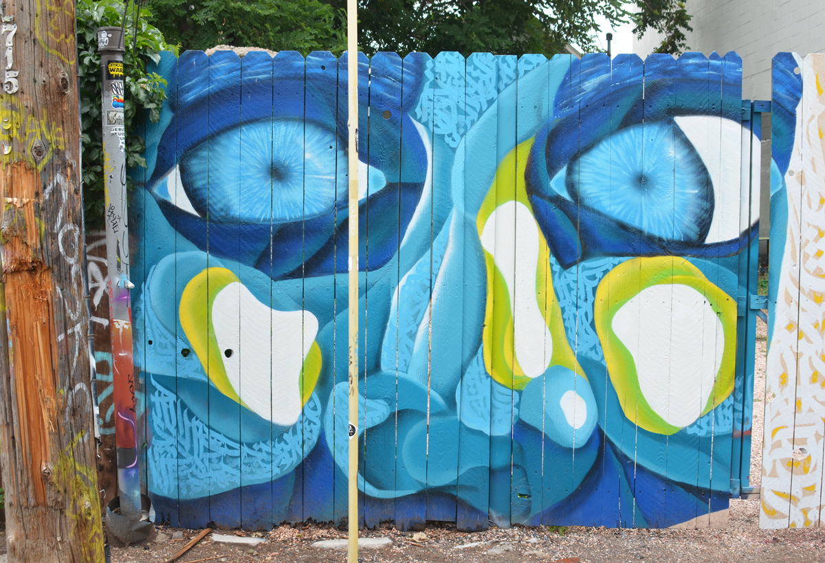gate, painted with mural, large blue face, eyes, nose and cheeks, light green highlights,